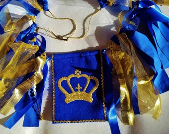Gold and Royal Blue Crown Cake Smash High Chair Ribbon and Fabric Banner for Prince Theme Birthday and Photo Prop Pictures
