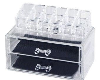 Ikee Design 2 Piece Acrylic Makeup Case and Lipstick Organizer Set (SKU# COMS30115)