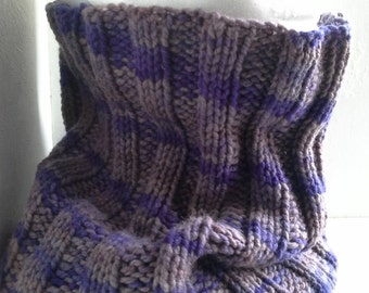 Wool cowl, hand knitted violet and grey cowl, hand dyed wool yarn, ooak