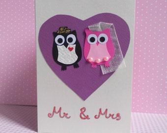 Handmade Wedding Card, Wedding Card, Owl Wedding Card, Handmade Owl Card, Wedding Owl Card, Bride and Groom, Mr and Mrs Card, Mr and Mrs
