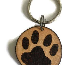 Wood Burned Paw Print Key Chain Double Sided
