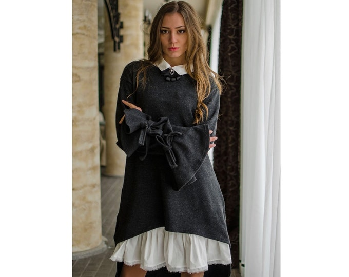 NEW Sexy Double Extravagant Dress / Elegant Loose Asymmetric Dress / White Collar Brooch Dress / Oversized Party Dress / Club Dress