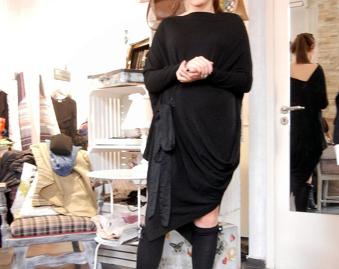Extravagant Extra Loose Maxi Dress / Black Oversized Soft Cotton Dress / Asymmetric Wide Black Dress