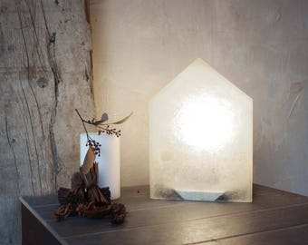 SWEET HOME - Lamp with translucence fiberglass lampshade and alluminium support base
