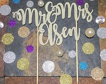 Mr & Mrs Custom Name Wedding Cake Topper/Glitter Custom Name Wedding Topper