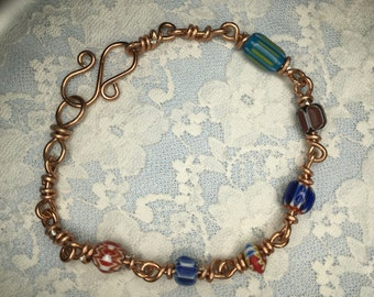 Copper Wire and Glass Bead Bracelet