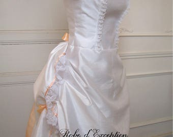 Wedding dress to turn white silk and satin ribbon colors to choose from with petticoat (bustle dress) available from XS to XXL
