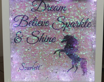 Personalised Dream Believe Sparkle & Shine Unicorn Light Box Night Light Forever Frame