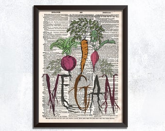 Vegan Dictionary Print - Vegetarian Art Print - Kitchen Wall Art - Vegan Kitchen Decor - Vegetable Artwork - Gifts for Gardener
