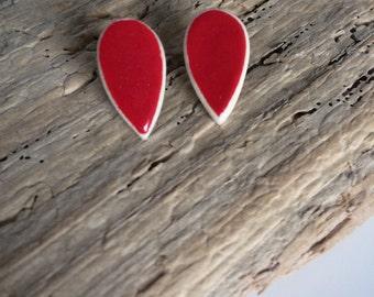 Chips earrings, drop, red, ceramic
