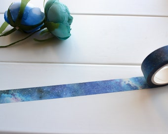 Galaxy Sky Washi Tape, Starry Night Washi Tape, Blue Washi Tape, Universe Galaxy Washi Tape, Star Moon Washi, Decorative Tape (NT-129)