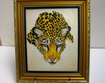Leopard Hand Painted on framed porcelain plaque
