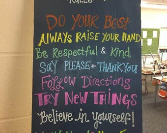 Classroom Rules Wooden Sign
