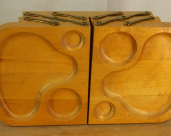 Vintage 50s Karoff Wood Fold Away Serving Snack Buffet 5 Tray