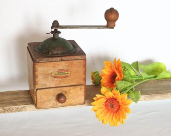 "Old Coffee Grinder Vintage ""ODAX"" (Made by PEUGEOT), Iron & Wood, Shabby Chic, Countryside ~ Cottage Decoration, Made in France, 1950"