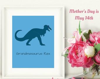 Grandma Gift from Grandson, Grandmasaurus Rex Digital Art Print Set, Mother's Day Print Gift, TRex Dinosaur Print, Tyrannosaurus Rex Print