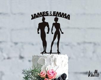 Personalized Cake Topper Fitness, Fitness Wedding Cake Topper, CrossFit Cake Topper,Christmas Gift, Bodybuilder Cake Topper