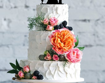 Wedding with dog cake topper- Silhouette wedding cake topper- Personalized cake topper- Personalized wedding Cake Topper- Dance cake topper