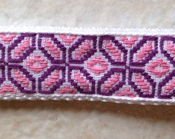 Handmade Key Fob-Pink and Purple Embroidered
