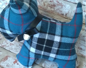 Blue Tartan Scottie Dog Doorstop- house gift, house decor, dog lover,
