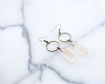 Blush Crystal and Antique Brass Circle Earrings