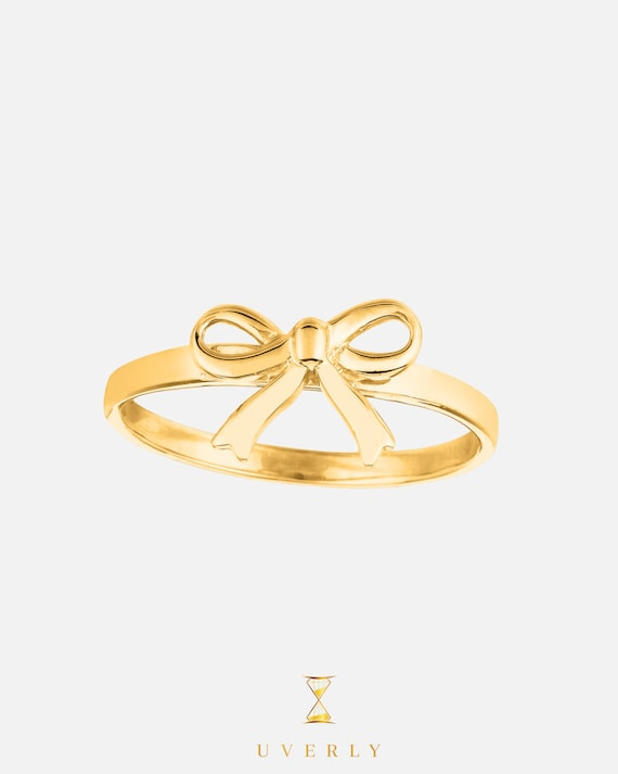 14k Solid Yellow Gold Womens Uverly Bow Ring