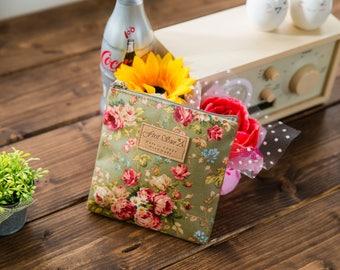 Cute Square Pattern Mini Pouch - Wild Flower (Mint, Khaki, Blue), Midium Sized Rose (Red, Black) - for picnic, lipstick, cosmetics bag