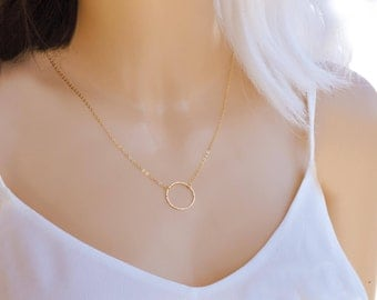 Simple Circle Necklace, Delicate Circle Necklace, Gold Filled Circle Necklace, Dainty circle necklace, Karma necklace, Minimalist necklace