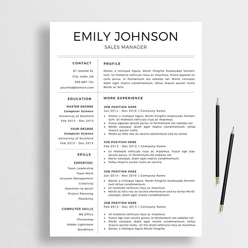 Professional Resume Word Template: Professional Resume Template Cover Letter For Word Creative