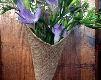 Natural Hessian Burlap Rustic Pew Cone and Chair Cone