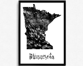 Map of Minnesota, United States of America, Black and White Map, Travel, Watercolor, Room Decor, Poster, gift, Print, Wall Art (756)