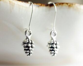 Dainty silver pine cone earrings   Petite woodland earrings   Tiny dangling pinecone earrings   Sterling silver earrings   Gift for her