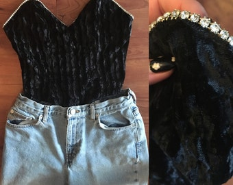 80s Vintage Velvet top with rhinestone detail. Size s.