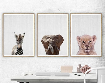 Baby Animal Nursery Art, Baby Animal Print. Baby Animal Art, Safari Animals Wall Art, Elephant Zebra Lion Set of 3 Prints, Nursery Wall Art