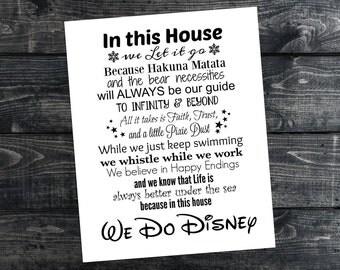 We Do Disney Print, Disney Quote Print, In this house we do Disney, Disney Family, INSTANT DOWNLOAD, 8x10, Printable Disney Art, Family Art