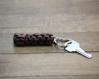 Leather Square Braided Heart Ring Key Chain, Key Chains, Handcrafted, Natural Leather, Key ring, Hand Made,  Pick a color!