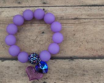 Bead Bracelet / Charm Bracelet / Lavender Bracelet / Heart Charm Bracelet