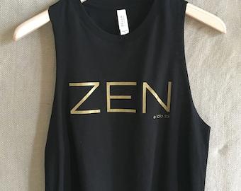 6.2 Black and Gold Zen Tank. Semi Crop Top. Racerback. Yoga. Zen. Barre. Fitness. Chill. Festival. Boho