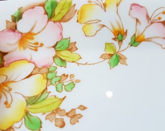 Precious Pair of hand decorated 'Azalea' antique fine bone china platters, by Reid & Co, 1937, Staffordshire Pottery, Made in England.