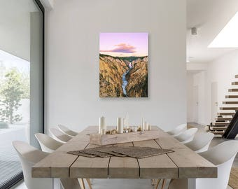 Canvas Wall Art Mockup Template (Styled Stock Photography), 3 to 4 ratio, Portrait Orientation, Modern Dining Room, Barn Wood Table