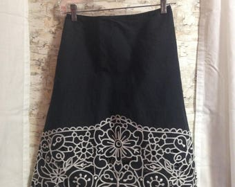 Black cutout skirt, Carlisle skirt, black cotton skirt, embroidered skirt