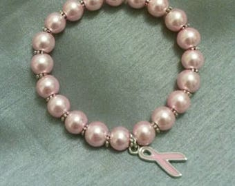 Breast Cancer Awareness beaded bracelet with ribbon charm