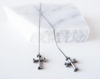 Silver Cross Dangle & Drop Earrings, Long Chain Earrings