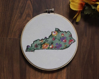 Floral Kentucky Embroidery Hoop Art