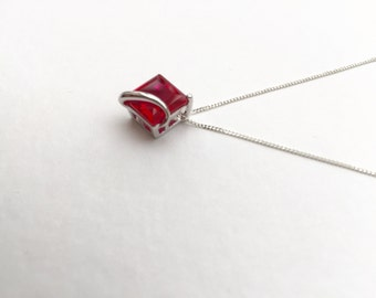 Ruby necklace, 3.3ct square cut Ruby pendant, solid 925 sterling silver ruby necklace, silver ruby pendant, gemstone necklace