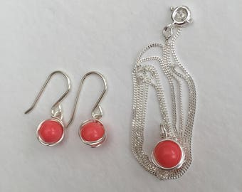 Coral jewellery set, 925 sterling silver coral set, pink coral necklace and earring set, natural coral jewellery, real coral jewelry
