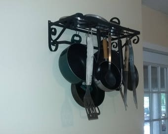 Pot Rack Pan Rack Garage Organizer Wall Mounted Flat Black 2 Tier with Grid and 10 hooks