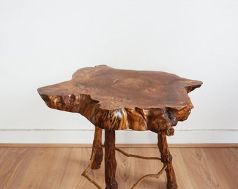Strain or vintage 1960s tree trunk side table