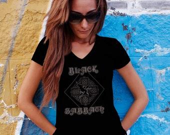 Black Sabbath Women T-shirt Black Sabbath V Neck  Tshirt Black Sabbath Women Shirt Black Sabbath Tee Rock T-shirt Model 11