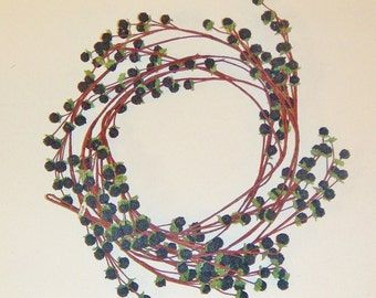 ONE 9 FT Black Berry Garland With Realistic Polyester-Berries Green-Leaves and Hand-wrapped Brown Stem From Allstate Floral